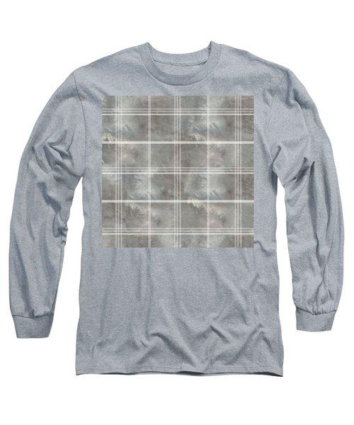 Soft Textured Cream And Blue Plaid Long Sleeve T-Shirt