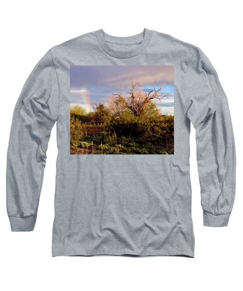 Sonoran Desert Spring Rainbow Long Sleeve T-Shirt