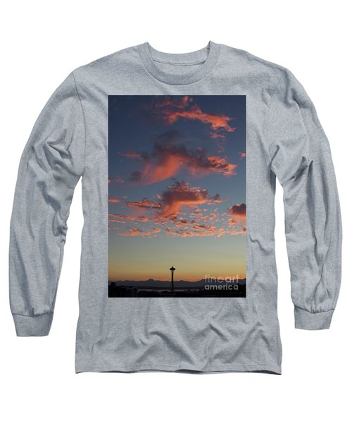 Space Needle And Pink Clouds Long Sleeve T-Shirt