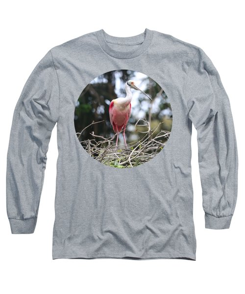 Spoonbill On Branches Long Sleeve T-Shirt