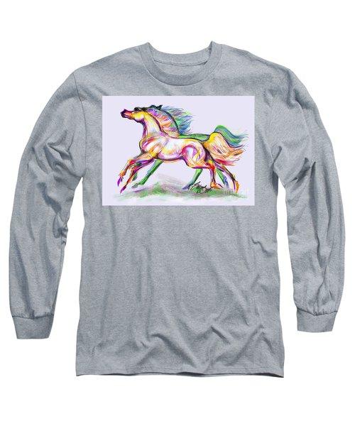 Crayon Bright Horses Long Sleeve T-Shirt