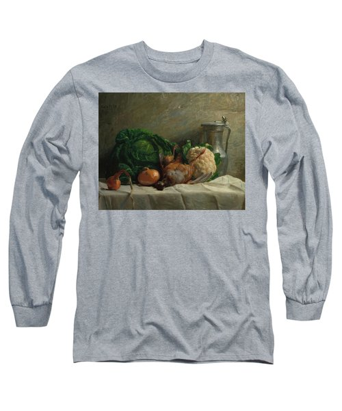 Still Life With Vegetables, Partridge, And A Jug, 1858  Long Sleeve T-Shirt