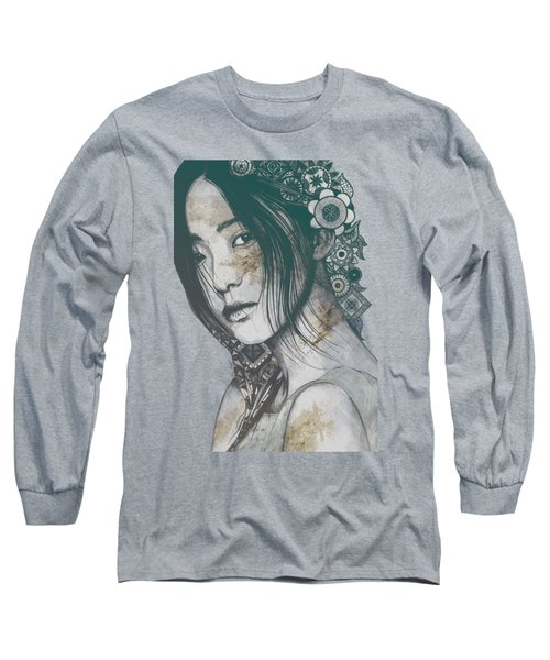 Stoic - Autumn - Asian Woman Portrait With Mandalas Long Sleeve T-Shirt