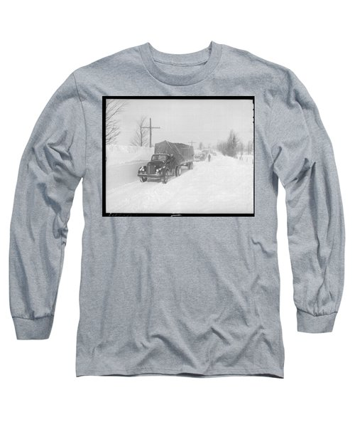 Street Scene In The Aftermath Of A Blizzard In Arthur Ontario Long Sleeve T-Shirt