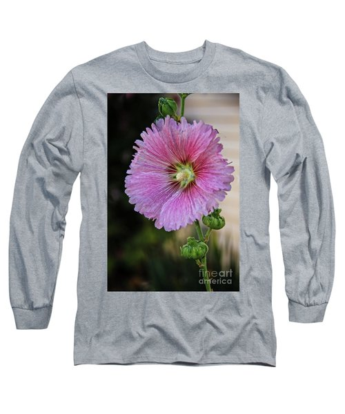 Stunning Pink Hollyhock Long Sleeve T-Shirt