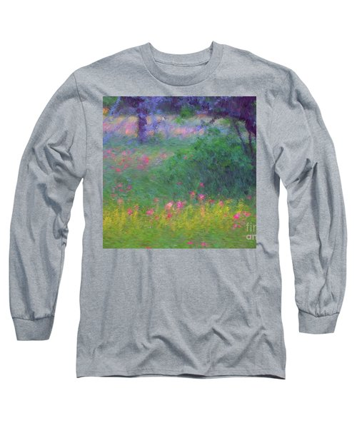 Sunset In Flower Meadow Long Sleeve T-Shirt