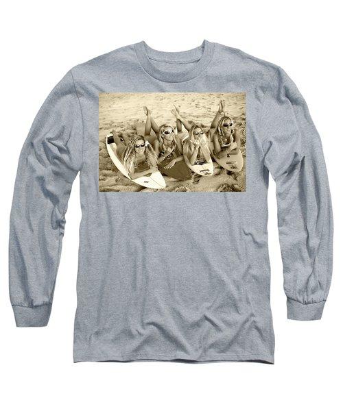 Surf Girls - Sepia Long Sleeve T-Shirt