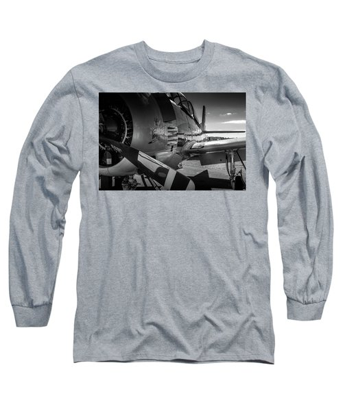 T-28b Trojan In Bw Long Sleeve T-Shirt