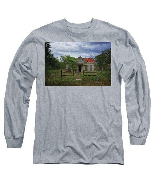 Texas Farmhouse In Storm Clouds Long Sleeve T-Shirt