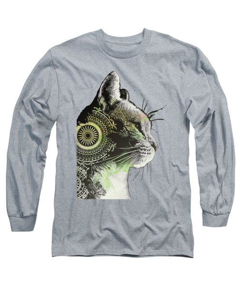 Tides Of Tomorrow - Lime - Mandala Cat Drawing Long Sleeve T-Shirt