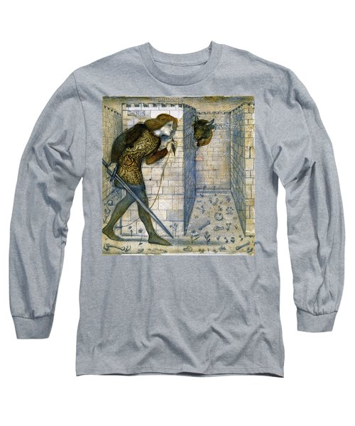 Tile Design - Theseus And The Minotaur In The Labyrinth Long Sleeve T-Shirt