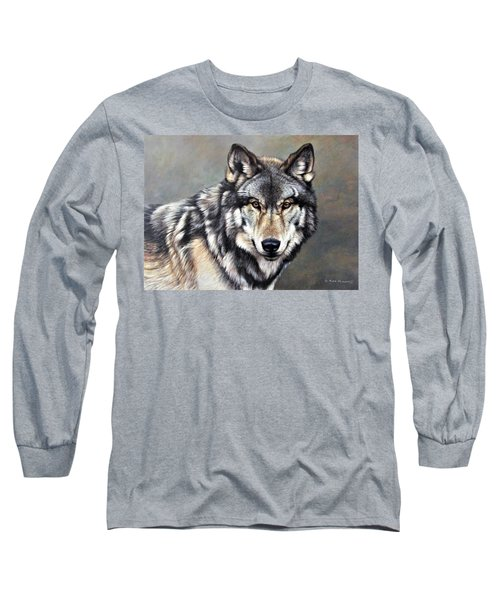 Timber Wolf By Alan M Hunt Long Sleeve T-Shirt