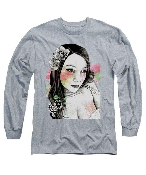 Treasure - Young Cute Girl, Magnolia And Mandalas Long Sleeve T-Shirt
