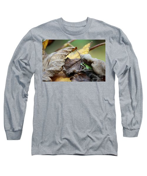 Tree Frog Seeking Shelter Long Sleeve T-Shirt