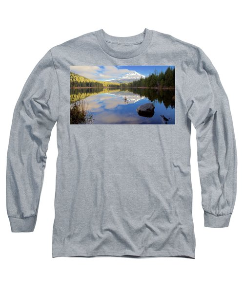 Trillium Lake Morning Reflections Long Sleeve T-Shirt