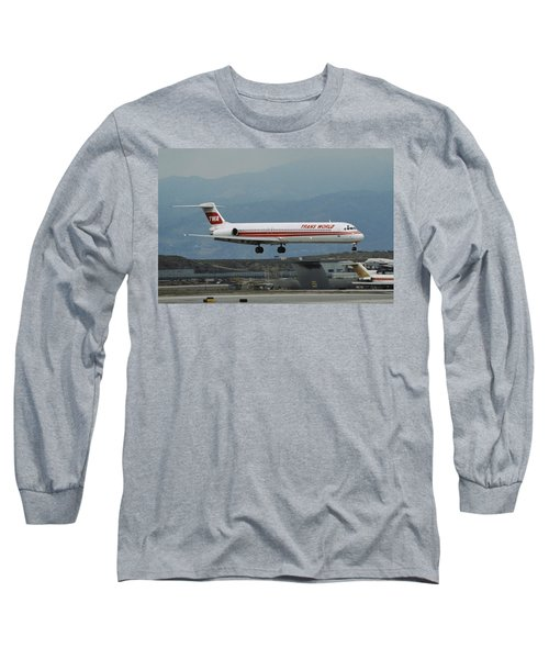 Twa Md-80 Landing At Los Angeles Long Sleeve T-Shirt