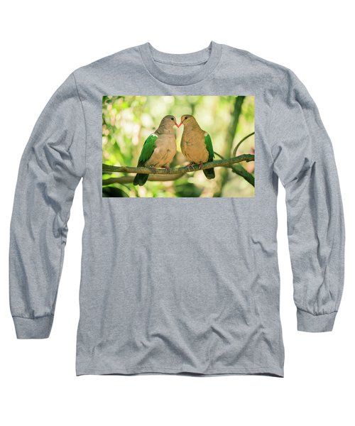 Two Colourful Doves Resting Outside On A Branch. Long Sleeve T-Shirt