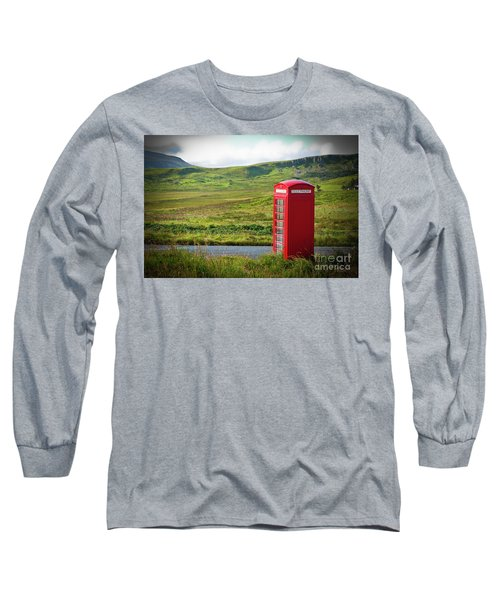 Typical Red English Telephone Box In A Rural Area Near A Road. Long Sleeve T-Shirt