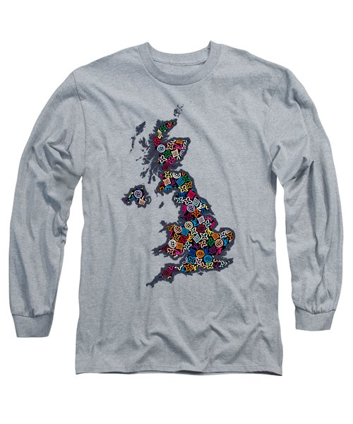 United Kingdom Map-2 Long Sleeve T-Shirt