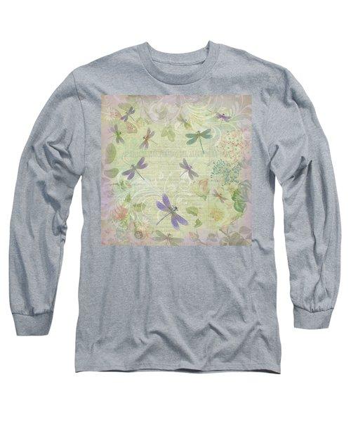Vintage Botanical Illustrations And Dragonflies Long Sleeve T-Shirt