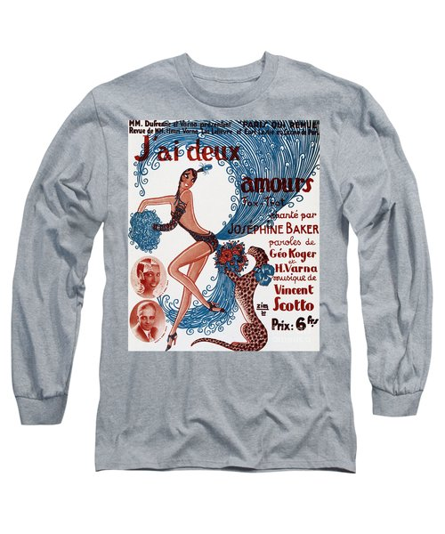Vintage Show Poster Jai Deux Amours, Sung By Josephine Baker Long Sleeve T-Shirt