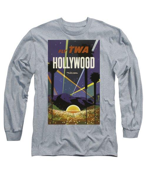 Vintage Travel Poster - Hollywood Long Sleeve T-Shirt