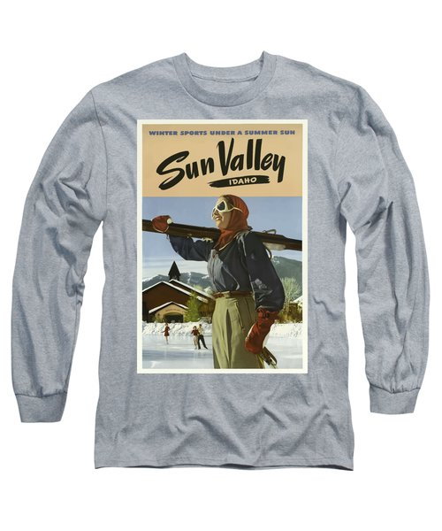 Vintage Travel Poster - Sun Valley, Idaho Long Sleeve T-Shirt
