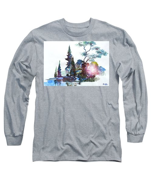 Watercolor Forest And Pond Long Sleeve T-Shirt