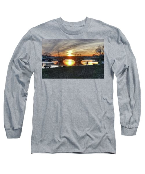 Long Sleeve T-Shirt featuring the photograph Weeks Bridge At Sunset by Wayne Marshall Chase