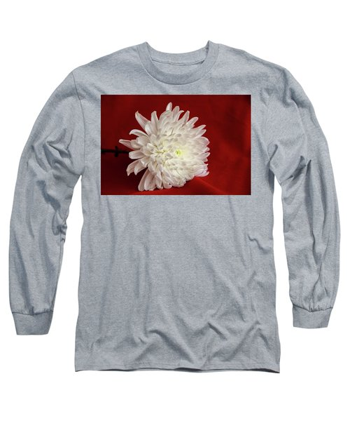 White Flower On Red-1 Long Sleeve T-Shirt