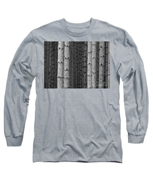 White Pines Black And White Long Sleeve T-Shirt