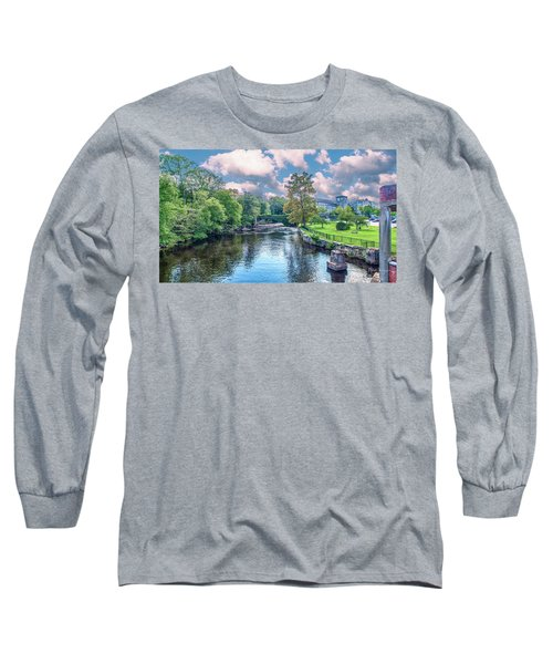 Willimantic River With Clouds Long Sleeve T-Shirt