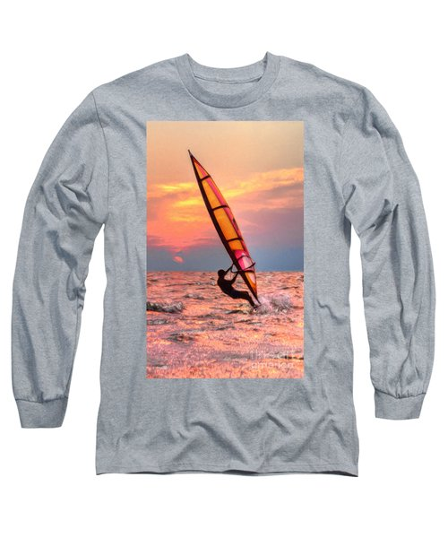 Windsurfing At Sunrise Long Sleeve T-Shirt