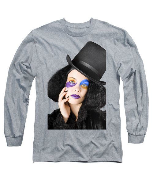 Woman Dressed As Jester Long Sleeve T-Shirt