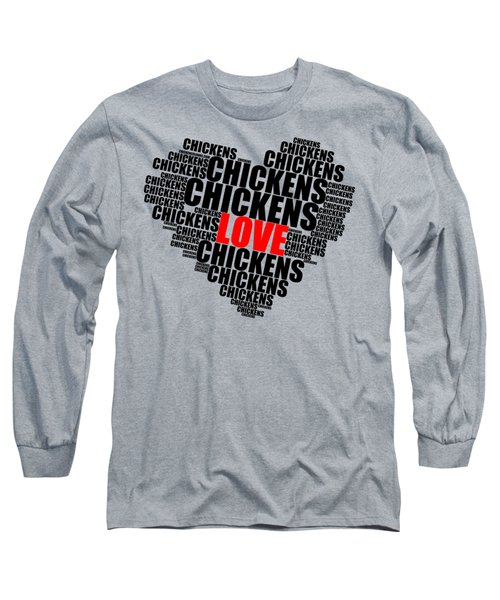 Wordcloud Love Chickens Black Long Sleeve T-Shirt