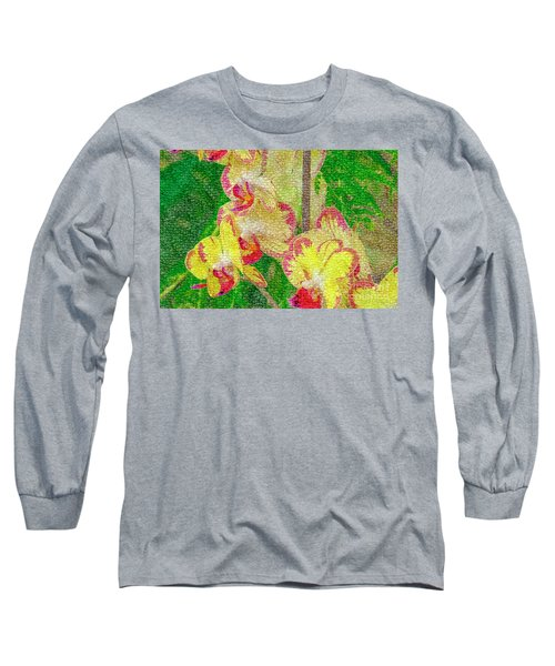 Yellow/rouge Orchids Long Sleeve T-Shirt