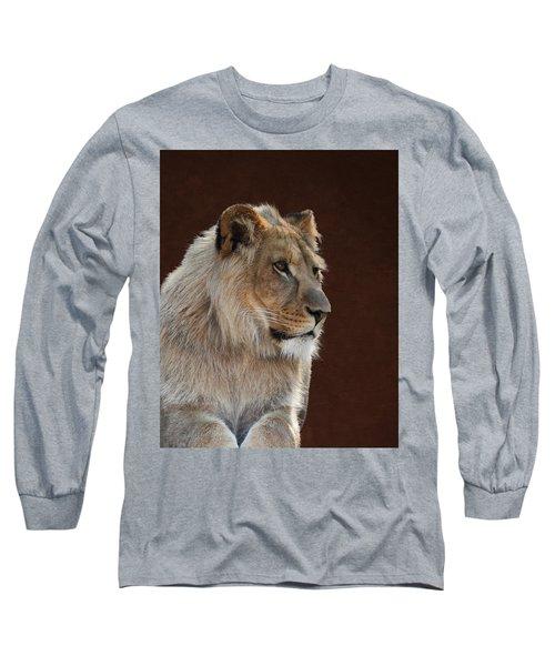 Young Male Lion Portrait Long Sleeve T-Shirt