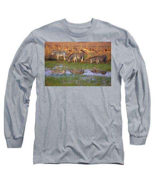 Zebras In Botswana Long Sleeve T-Shirt