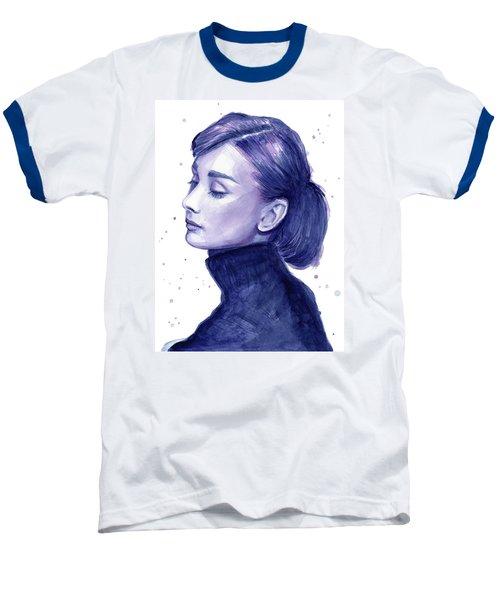 Audrey Hepburn Portrait Baseball T-Shirt by Olga Shvartsur