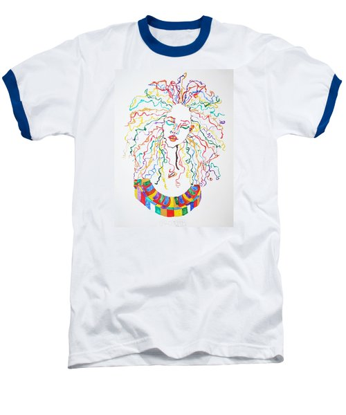 Baseball T-Shirt featuring the painting Dreadlocks Piano Goddess by Stormm Bradshaw