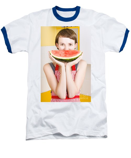 Funny Woman With Juicy Fruit Smile Baseball T-Shirt by Jorgo Photography - Wall Art Gallery