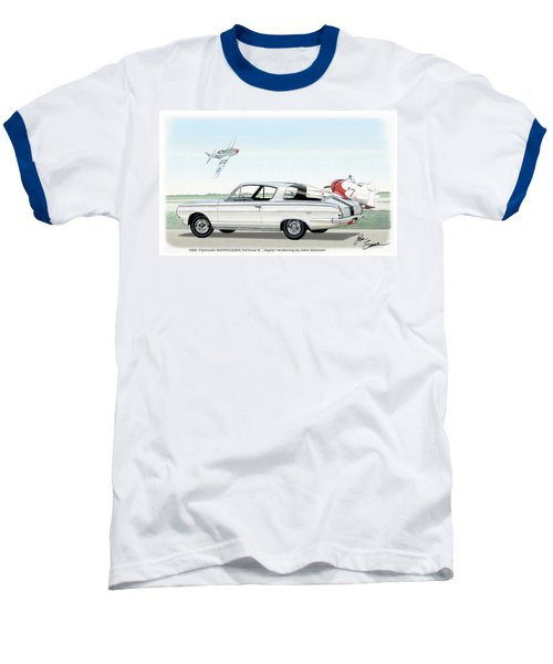 1965 Barracuda  Classic Plymouth Muscle Car Baseball T-Shirt by John Samsen