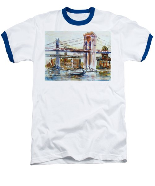 Baseball T-Shirt featuring the painting Downtown Bridge by Xueling Zou