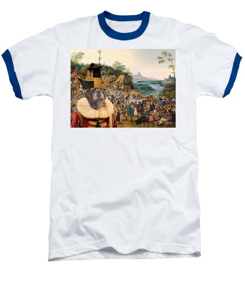 Korthals Pointing Griffon Art Canvas Print Baseball T-Shirt by Sandra Sij