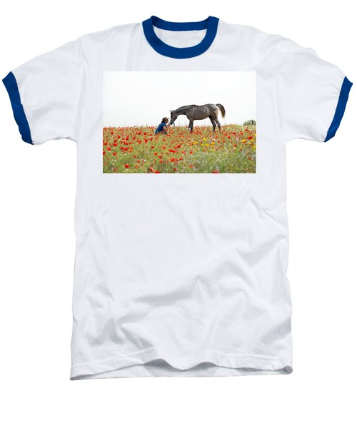 Baseball T-Shirt featuring the photograph Three At The Poppies' Field... 4 by Dubi Roman