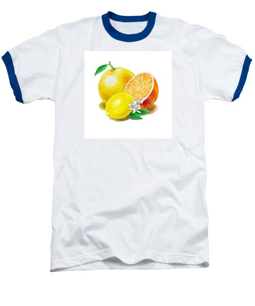 A Happy Citrus Bunch Grapefruit Lemon Orange Baseball T-Shirt by Irina Sztukowski