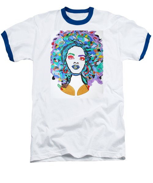 Baseball T-Shirt featuring the painting Afro Lauryn Hill  by Stormm Bradshaw