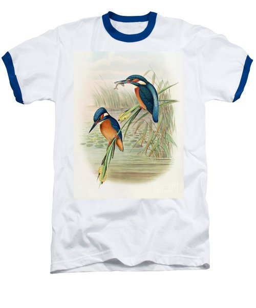 Alcedo Ispida Plate From The Birds Of Great Britain By John Gould Baseball T-Shirt by John Gould William Hart