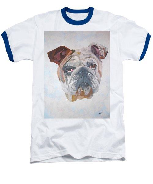 Baseball T-Shirt featuring the painting American Bulldog Pet Portrait by Tracey Harrington-Simpson