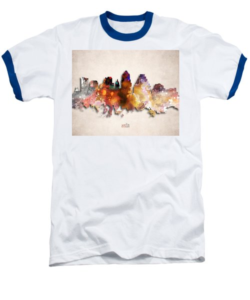 Austin Painted City Skyline Baseball T-Shirt by World Art Prints And Designs